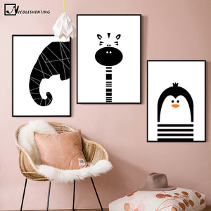 Penguin Elephant Giraffe Art Canvas Poster Minimalist Print for Nursery
