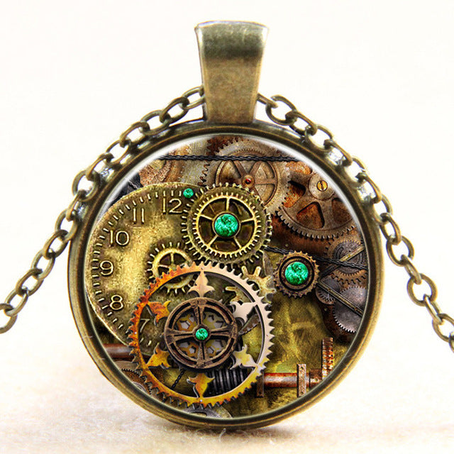 Bronze Glass Gear Steampunk Pendant Handcrafted Jewelry