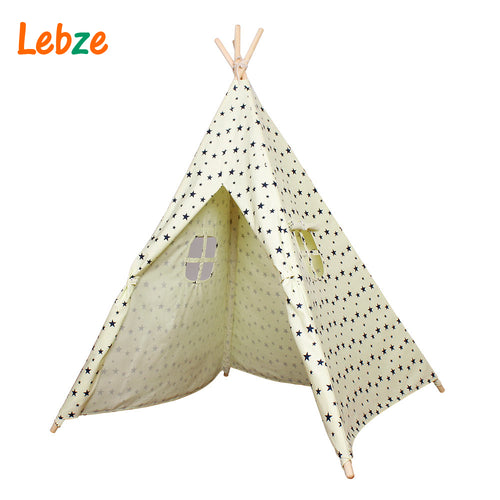 Tent For Kids Cotton Canvas Indian Teepee Star Pattern Play Tent