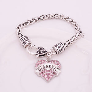 DIABETIC Bracelets Crystal Heart Charm Awareness Medical Alert Bracelet