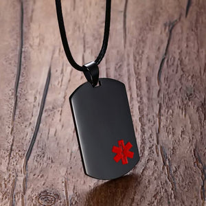 Stainless Steel Medical Alert ID Dog Tag Pendant Necklace in Black Unisex