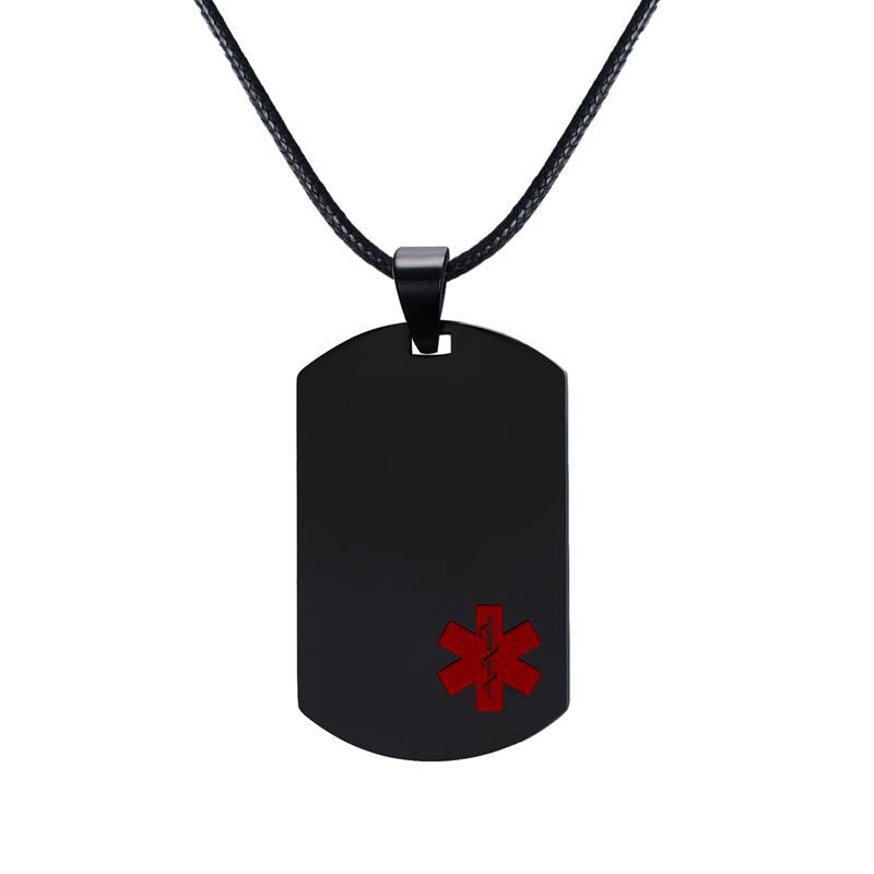 Stainless steel medical alert id dog tag pendant necklace in black unisex stainless steel medical alert id dog tag pendant necklace in black unisex aloadofball Gallery