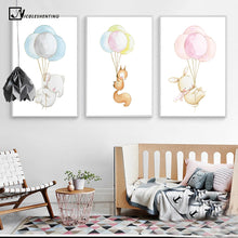 Watercolor Animal Elephant Rabbit Fox Balloons Canvas Print Wall Art Painting Baby Room