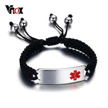 Medical Braided Charm Bracelet ID Stainless Steel Emergency Alert Jewelry
