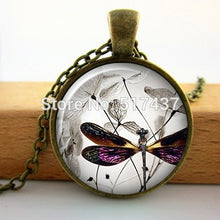 Vintage Steampunk Dragonfly Necklace in Art Glass Cabochon Necklace