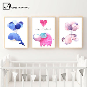 Watercolor Whale Elephant Horse Hearts Posters and Prints Wall Art Canvas Painting