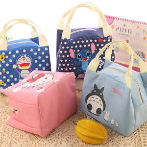 Cartoon Portable Insulated Canvas Lunch Bag