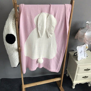 Bunny and Floppy Ears Knitted Blanket Throw Soft for Baby
