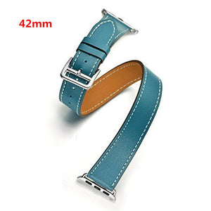 CRESTED Genuine Leather Double Wrap Replacement Band for Apple Watch