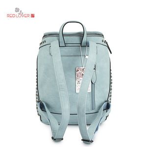 High Quality PU Leather Backpack Travel School Work Teal White Brown