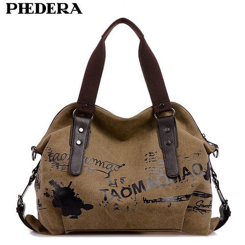 Printed Canvas Shoulder Bag Vintage Inspired Boho Hand Bag