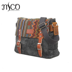 Vintage Inspired Distressed Canvas Messenger Bag Travel Bag Satchel