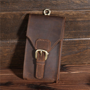 Crazy Horse Leather Waist Bag Travel Hiking
