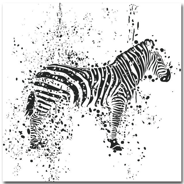 Black and White Zebra Giraffe Lion Kangaroo Minimalist Nordic Art for Nursery