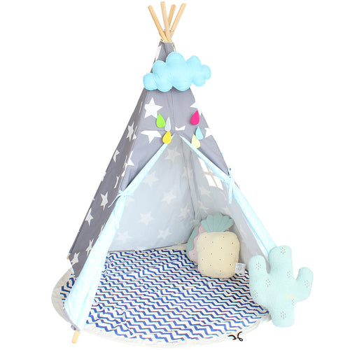 Children's Tent Star Teepee For Kids Cotton Canvas