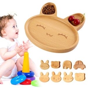 Wooden Children Plates Cartoon Shaped w/3 Sections