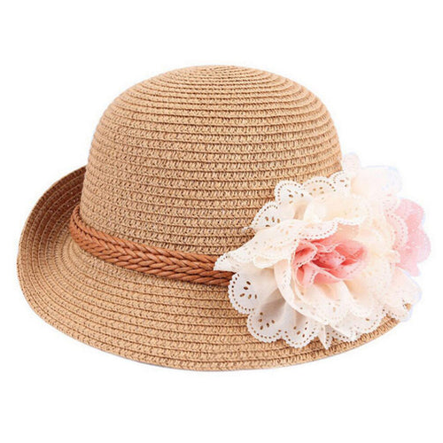 Girls Fedora Hat with Flower and Hat Band