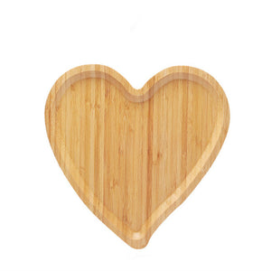 Creative Bamboo Serving Tray Heart Shape for Fruits, Cakes, Desserts