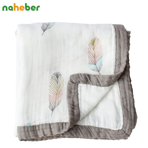 Baby Blanket Cotton Muslin Swaddle Feather Theme