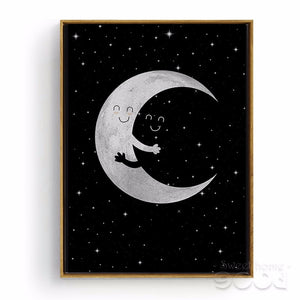 Moon Hug Canvas Art Print Poster Child Room Wall Decor