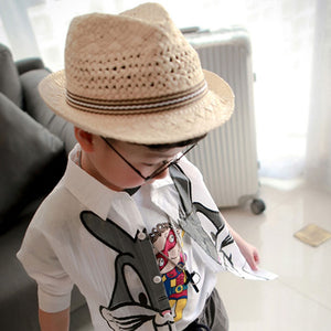 Boys Simple Straw Fedora Handmade Vintage Style