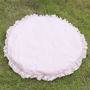Nordic Round Play Mat Soft Pink Ruffled