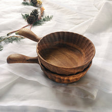 Handmade Small Zebra Wood Bowl with Handle