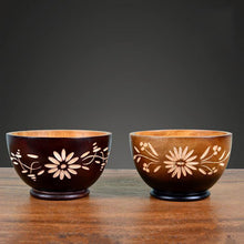 Thai Imports of Solid Wooden Bowl Cut Out Flower Pattern