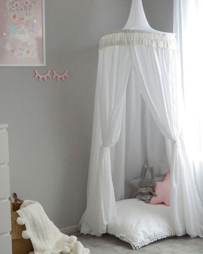 Tasseled Tent Kids Decor Round Dome Bed Canopy