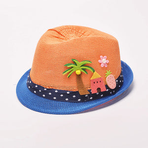 Baby Straw Fedora Hat for Summer with Cute Summer Scenes