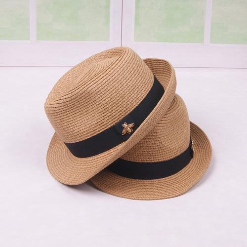 Adult Breathable Panama Style Straw Hat Folding Bucket Hat