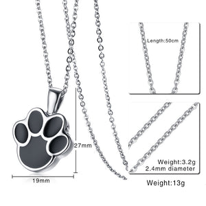 Stainless Steel Dog Paw Shaped Pet Urn Pendant Necklace with 20 inch Chain