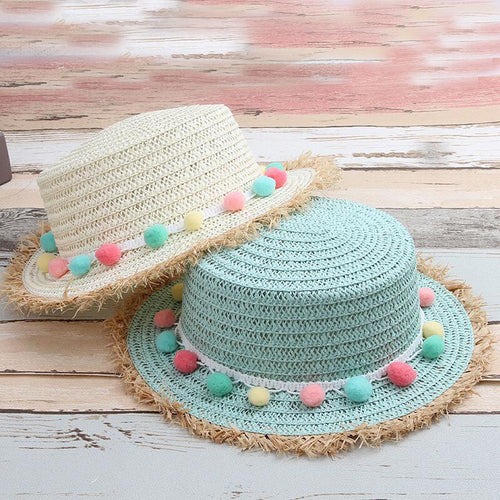 Child's Sun Hat for Beach or Everyday Raw Straw Edge and Felt Ball Band