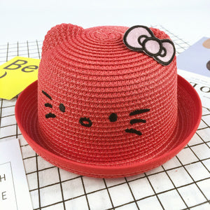 Lovely Cat Ears Kids Summer Straw Hats for Church, Play, Beach