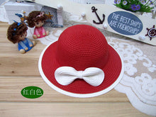 Girls Summer Beach Red White Pink Straw Hat with Coordinating Bow