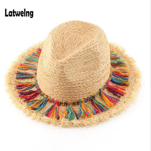 Handmade Raffia Straw Panama Sun Visor Hat w/PomPoms For Women