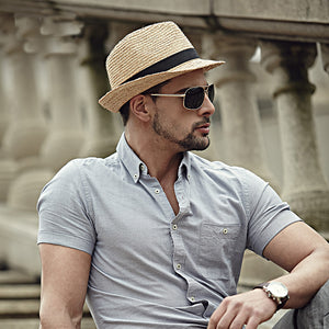 Men's Fedora Gangster Hat for Summer Beach Panama Man