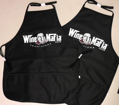 Wine Mafia Mid Length Two Pocket Black Apron