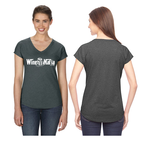 Wine Mafia Women's Tri-Blend V-neck Wine Barrel - Heather Grey
