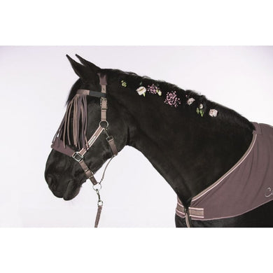 Head collar with fly fringes&leadrope,snap-Melody-