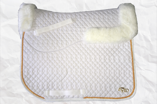 Horse Desires dressage saddle pad - with merino fleece half pad lining - White