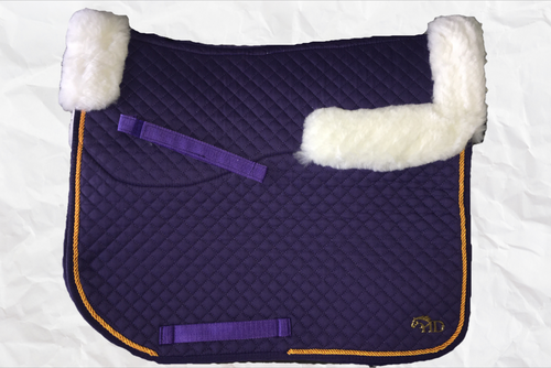 Horse Desires dressage saddle pad - with merino fleece half pad lining - Purple