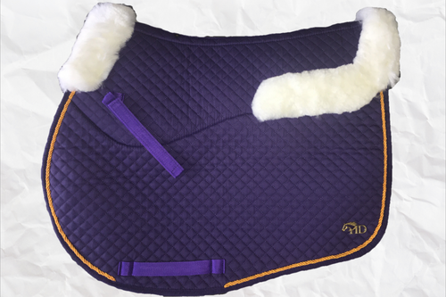Horse Desires jump saddle pad - with merino fleece half pad lining - Purple