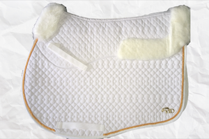 Horse Desires jump saddle pad - with merino fleece half pad lining - White