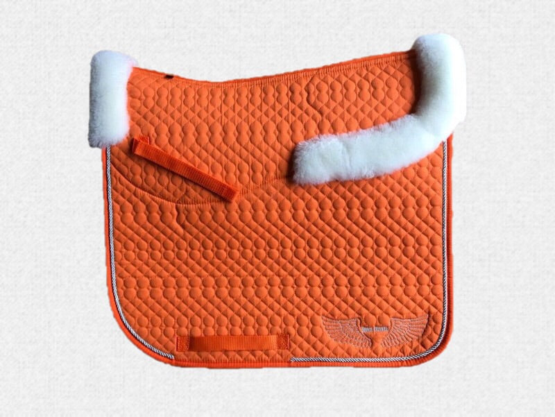 Dressage saddle pad - with merino fleece half pad lining - Orange