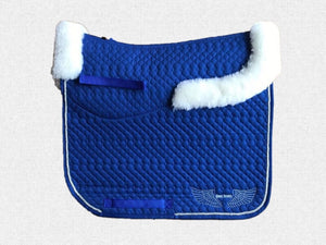 Dressage saddle pad - with merino fleece half pad lining - Royal Blue