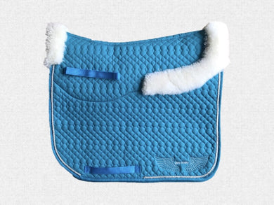 Dressage saddle pad - with merino fleece half pad lining - Turquoise