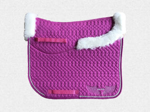 Dressage saddle pad - with merino fleece half pad lining - Raspberry