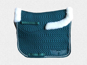 Dressage saddle pad - with merino fleece half pad lining - Green