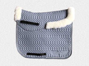 Dressage saddle pad - with merino fleece half pad lining - Grey